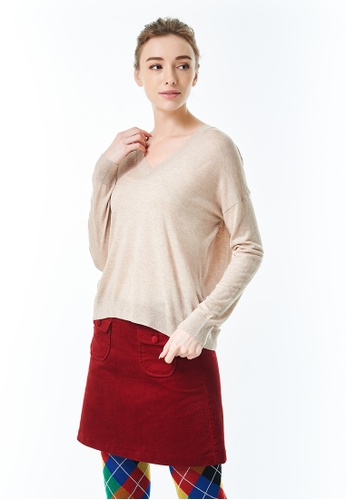 United Colors of Benetton brown V-neck Cashmere Blend Sweater FCC8AAA78FC03CGS_1