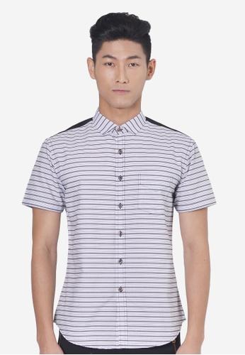 Private Stitch black Shirt With Horizontal Dobby Stripe PR777AA00QUXMY_1