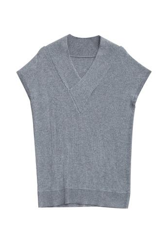 KLAPS grey Ribbed Cashmere-blend Sweater 716DDAA5022B79GS_1