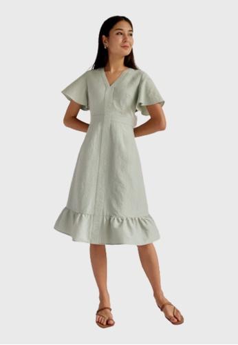 Love, Bonito green Ashlyn Ruffle Hem Midi Dress 522D5AAE59E86BGS_1