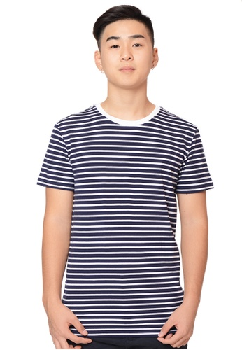 Praise white and navy Stripes Short Sleeves Tee PR067AA0H99YSG_1