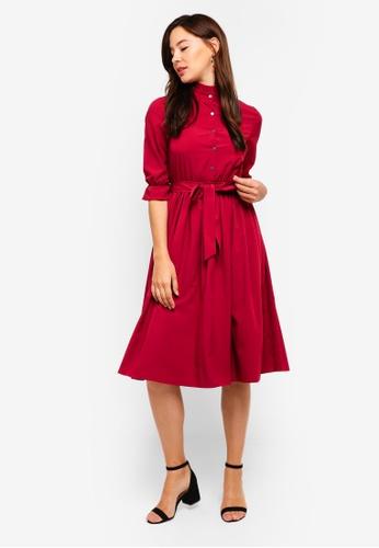 ZALORA red Pleated Neck Button Down Dress 6543BAA8C8E193GS_1