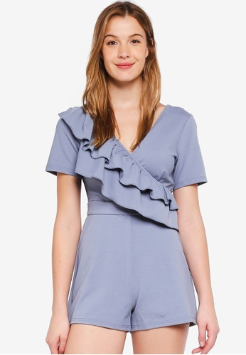 LOST INK blue Asymmetric Frill Bust Playsuit 7A603AAA90177DGS_1