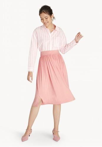 Pomelo pink Midi Pleated Jersey Skirt - Pink 3AA25AA1CFD4EFGS_1