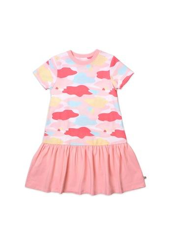 OETEO pink and multi Camo Flash Drop Waist Ruffle Dress (Pink) A7B18KAAC8308AGS_1