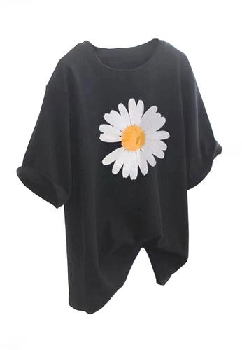 Twenty Eight Shoes black VANSA Fashionable Loose Print T-Shirt VCW-Ts5615 8926FAADAB2757GS_1