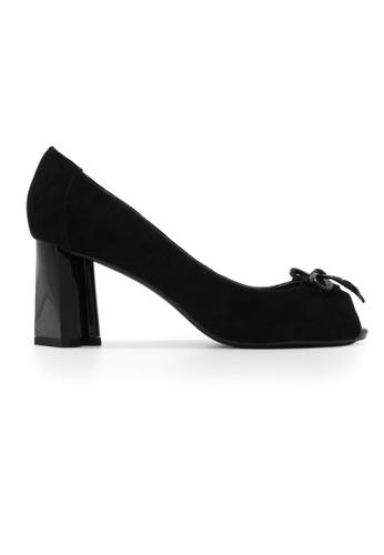 Gripz black Clover Suede Open Toe Thick Heels GR357SH45BMCSG_1