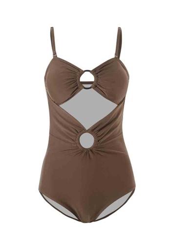 ZITIQUE brown Women's Fashionable Chic Sexy One-piece Swimsuit - Brown D34D3USD690D66GS_1
