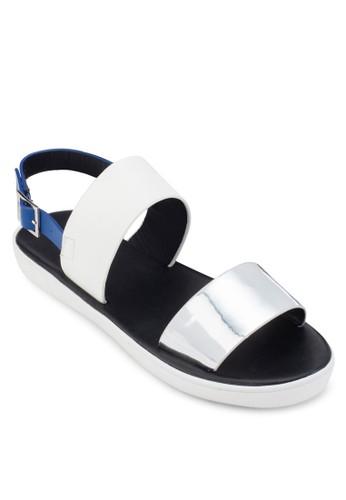 雙色寬帶繞踝涼鞋, 女鞋,esprit hk分店 鞋