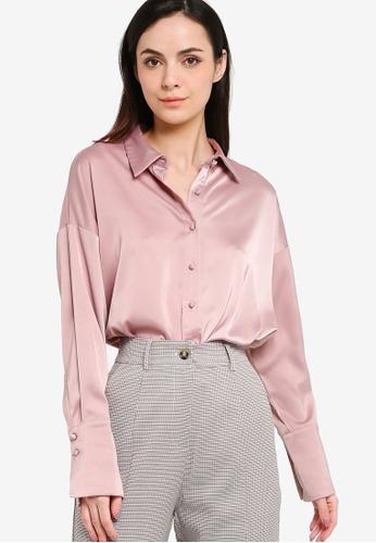 ZALORA WORK pink Satin Button Down Shirt 3DE6CAAA896584GS_1