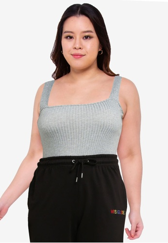 MISSGUIDED grey Plus Size Ribbed Strap Bodysuit E5AD3AAE5E904CGS_1