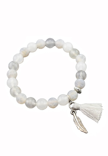 Memento Collection white Ladies Tassel Bracelet with White Jade & Grey Agate  ME060AC0S3JRMY_1