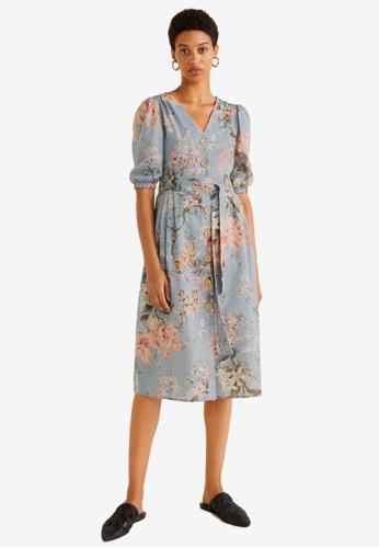 Mango grey Floral Linen-Blend Dress 1E8AAAAA753B28GS_1