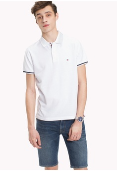 37b9f2a28cb2 Tommy Hilfiger white BASIC TIPPED REGULAR POLO 1AC69AAA386977GS 1