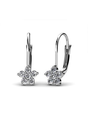 Her Jewellery silver Swarovski® Crystals - Flower Clip Earrings (18K White Gold Plated) Her Jewellery HE581AC0RDQNMY_1