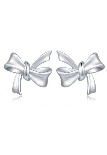 MaBelle silver 925 Sterling Silver Earrings Ribbon 161FDACF3F477DGS_1