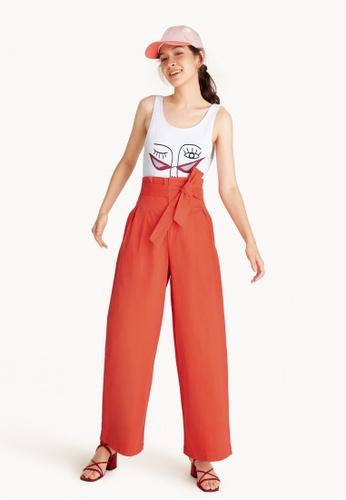 Pomelo orange Paperbag Tie Waist Pants - Orange 32159AA74BB305GS_1