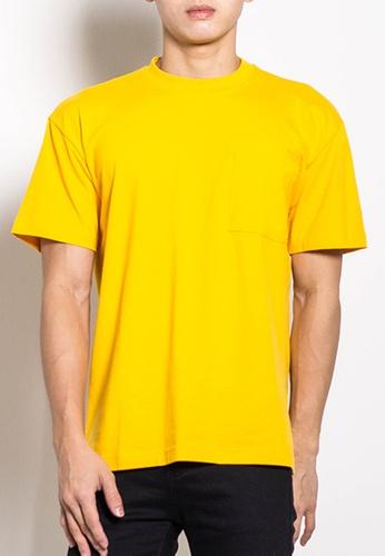 SUB yellow Men Oversized Plain Tee D7EC0AA4801FB7GS_1