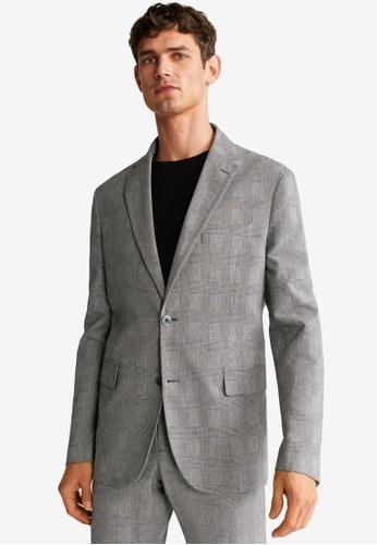 Mango Man grey Slim Fit Check Suit Blazer 54755AA5672A2CGS_1