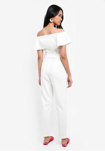 9fb6c87cf2f7 Buy Miss Selfridge White Bardot Frill Jumpsuit Online on ZALORA ...