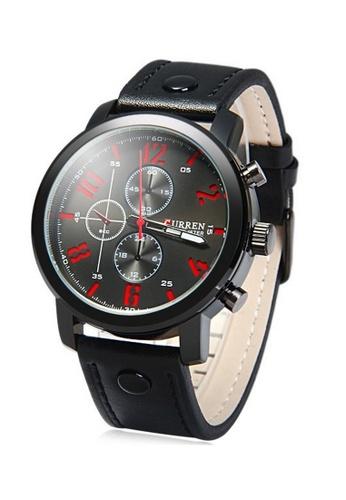 curren black and red Curren 8192 Men's Leather Strap Watch (Black Red) CU537AC04SZRMY_1