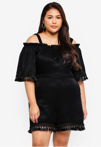 LOST INK PLUS black Plus Size Playsuit With Tassles 9961FAA3091846GS_1