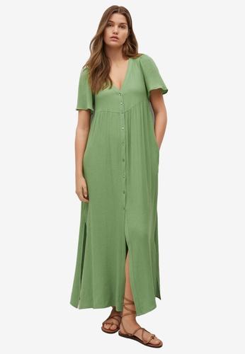 Mango green Textured Flowy Dress 9DEE8AAFBFCCE1GS_1