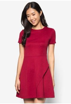 Basics Asymmetrical Flap Fit& Flare Dress