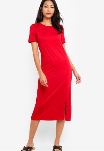 ZALORA BASICS red Basic Midi Dress With Slit 3307AAA8FB63EFGS_1