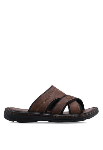 Louis Cuppers brown Criss-Cross Flat Sandals A48BESH74FA742GS_1