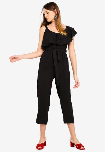 ZALORA black Asymmetric Ruffle Jumpsuit 9FEA5AA010FA33GS_1
