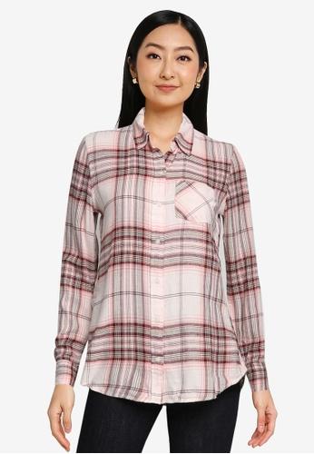 GAP pink Long Sleeve Drapey Plaid Shirt 36C41AA4ED21E3GS_1