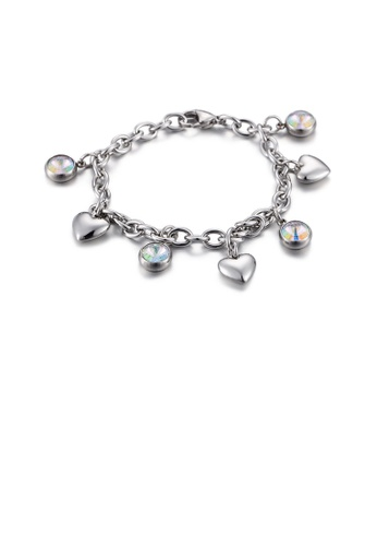 Glamorousky white Simple and Fashion Heart-shaped Geometric Round Cubic Zirconia 316L Stainless Steel Bracelet 887FAAC68CB058GS_1