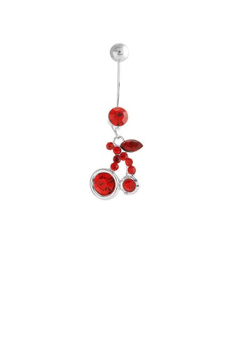 Glamorousky red Cherry Belly Ring with Red Austrian Element Crystals 70583AC134F97CGS_1