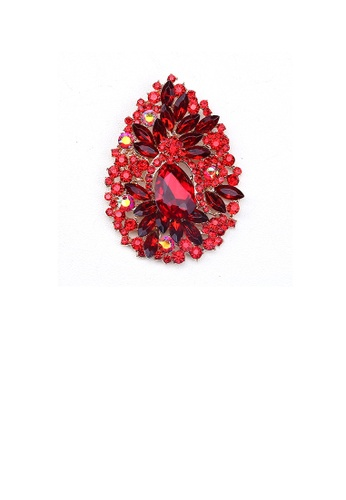 Glamorousky red Fashion and Elegant Plated Gold Water Drop-shaped Pattern Brooch with Red Cubic Zirconia 7C19BAC06E334AGS_1