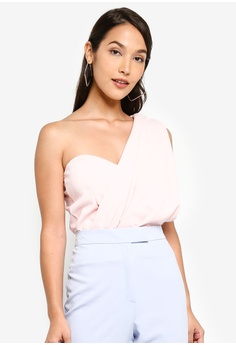 47a0281bf6f MISSGUIDED pink One Shoulder Drape Sleeveless Bodysuit 7AD72AAFA266DAGS_1