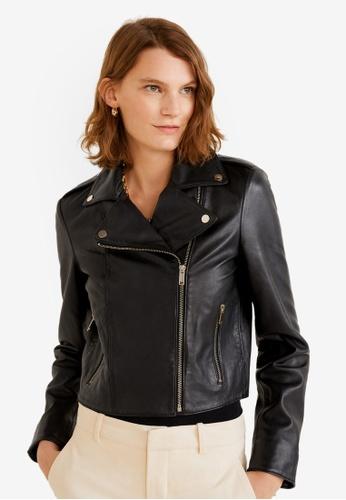 Mango black Lapelled Leather Biker Jacket 393E3AA7FB57EAGS_1
