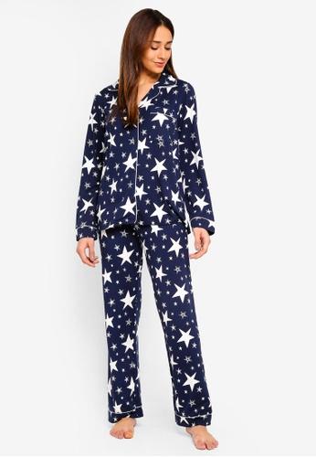 Chelsea Peers navy Navy With White Stars Long Pyjama Set 6CC2BAAE1CB314GS_1