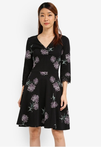 Dorothy Perkins black Floral Print Fit And Flare Dress DO816AA0SJ6BMY_1
