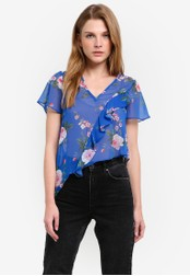 Miss Selfridge blue Petite Blue Floral Blouse MI665AA0RQJ3MY_1