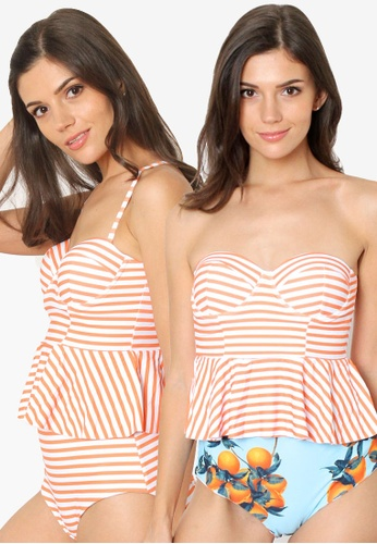 Shapes and Curves multi Halter Retro Stripes Reversible Bottom Two Piece Bikini Swimwear A7520USFC0FE08GS_1