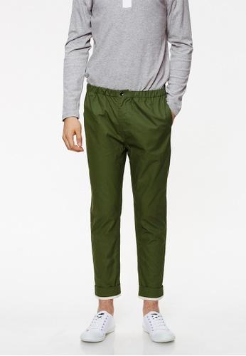 Life8 green Cotton Capri Pants With Linen Pleats-02435-Meadow Green LI283AA0FT4JSG_1