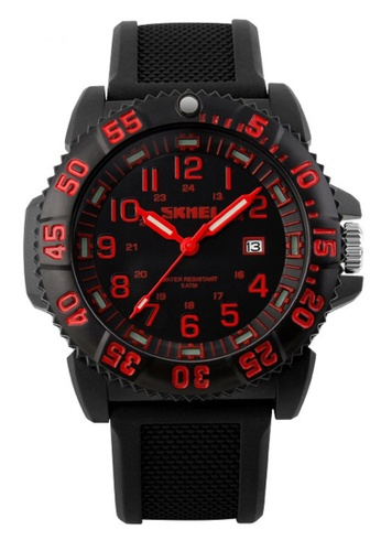 Skmei red SKMEI 1078 Men's Noctilucent Calendar Sports Watch (Red) SK707AC0RXCVMY_1
