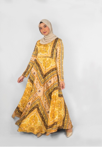 Zaryluq brown and yellow and beige Baroque Dress in Buttercup CE0C8AA0F46D59GS_1