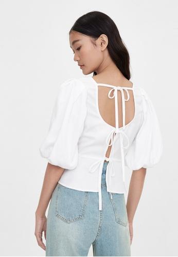 Pomelo white Purpose Multi Tie Back Blouse - White 5CFF6AA354D325GS_1