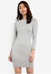 ZALORA grey Basic Long Sleeves Bodycon Dress 34D59ZZCFF22E3GS_1