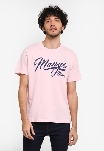 MANGO Man pink Printed Cotton T-Shirt MA449AA0T1E2MY_1