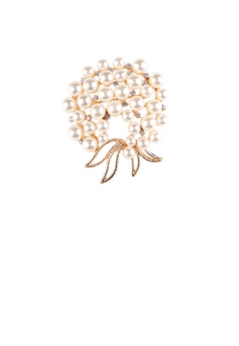 Glamorousky white Fashion and Elegant Plated Gold Floral Imitation Pearl Brooch FDE84AC445814AGS_1