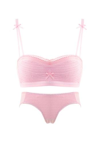 ZITIQUE pink Women's Latest Beautiful Demi-cup Lingerie Set (Bra And Underwear) - Pink E3F16USF41473DGS_1