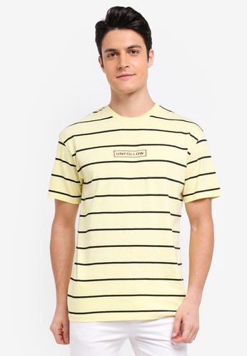 Topman yellow Yellow Oversized Striped T-Shirt BFCCAAAED07D2EGS_1